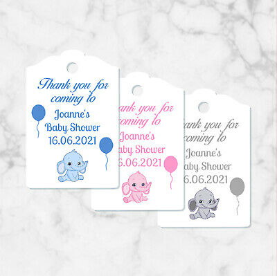 Personalised Baby Shower Favour Thank You Tags Baby Elephant Design & Ribbon x10