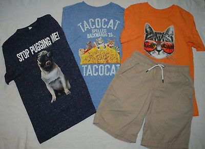 Boys Graphic Tees & Khaki Shorts Lot Pug Dog Cats Cat & Jack size 8