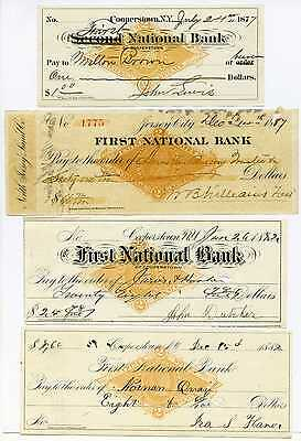 Lot of 4 U.S. Stamped Revenue Checks The First National Bank #43096