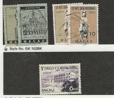 Macao, Postage Stamp, #364-367, 368-369, 1952-53 Portugal Colony