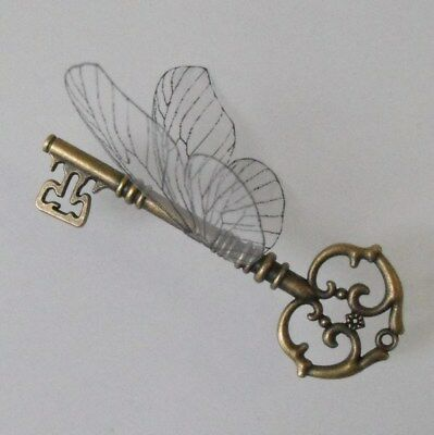Handmade flying key with large wings in antique brass or silver tone SSO/ABOLBF