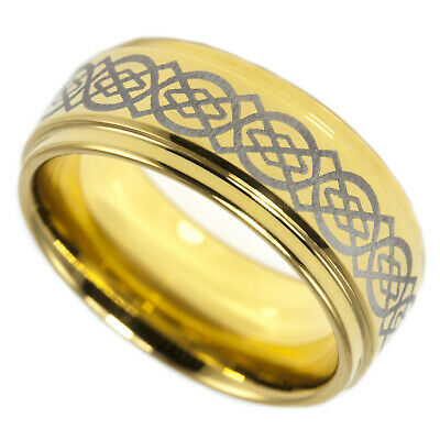 Gold Celtic Ring 24K Ion Plated Etched Tungsten Step Beveled 9mm Band