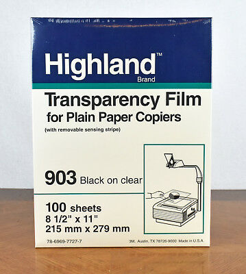 NEW Lot of 5x100 (500 total) 3M Highland Transparency Film #903 Black on Clear