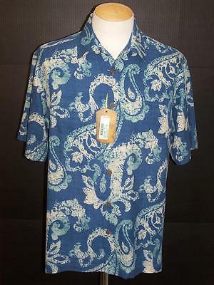 TOMMY BAHAMA NWT's Blue Hawaiian Casual Camp Button Front Silk Shirt Sz M S2417