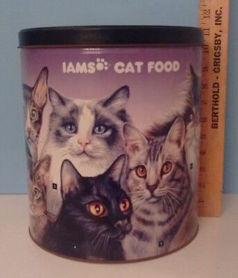 IAMS LARGE CAT FOOD CANISTER TIN - 11 Breeds Pictured - Good Condition