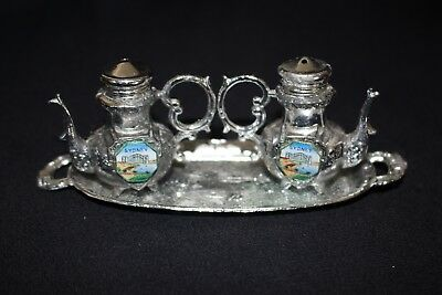 Vintage salt pepper souvenir tea pots on tray SYDNEY silver MADE JAPAN enamel