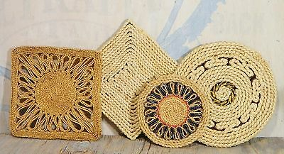 Vtg/Trivets/Hot Pads/Kitchen/Wall Decor/Woven Raffia/Straw/Cottage/BoHo Chic/ 4