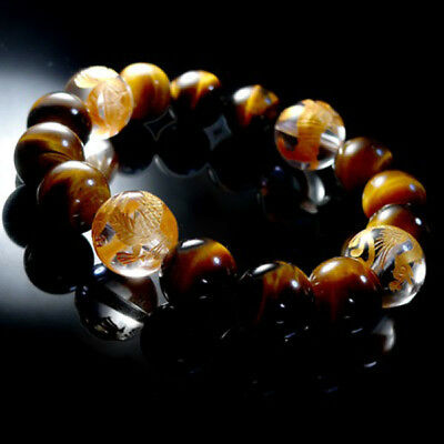 Exquisite Gdragon hand carved Onyx Gold Tigers Eye luck bead bracelet