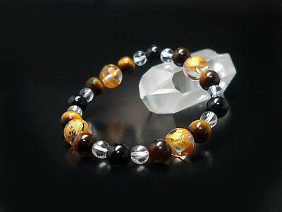Exquisite G-dragon hand carved Black Onyx Tigers Eye luck bead bracelet 10mm