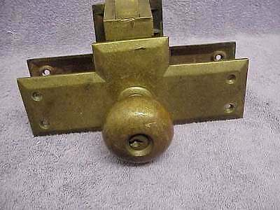 Antique Brass Entry Door Set Patent 1898 Works Good Free Shipping
