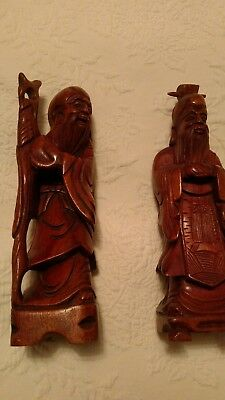 "Antique Pair of Chinese Wooden Hand Carved 10"" Figurines"
