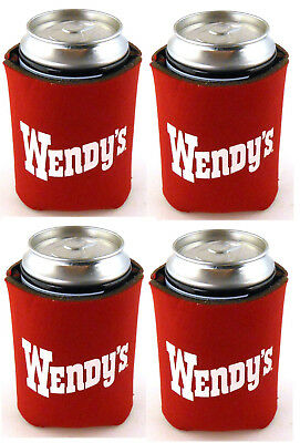 Wendy's Old Fashioned Hamburgers Beer Soda Can Koozie Cooler Set of 4