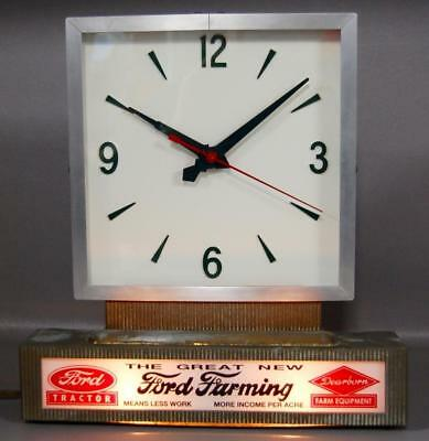 Rare Ford Tractor/dearborn Farm Equipment Clock Lighted Sign Dealership Display!