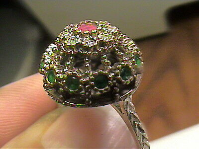 VINTAGE ANTIQUE RUBY emerald SILVER RING 9 MEDIEVAL NATURAL STERLING 925 small