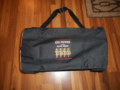 100 Pipers Scotch Wiskey Black Duffel Gym bag-- may be unused