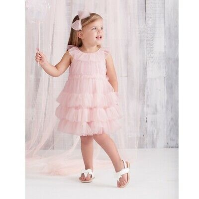 Mud Pie E8 Easter Birthday Party Baby Girl Pink Blush Mesh Tiered Dress 1142245