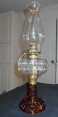 "FANCY & BEAUTIFUL c1880'S AMBER & CLEAR""MUFF"" KEROSENE OIL LAMP COMPLETE"