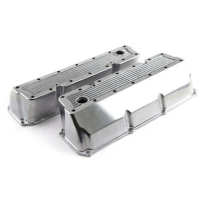 fits Ford 302 351C Cleveland Polished Aluminum Elite Valve Covers - Tall w/Hole