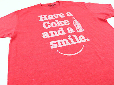 Coca-Cola Men's T-Shirt Red Have a Coke And A Smile Graphic Cotton Tee Size XL