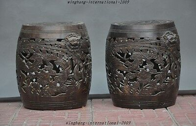Marked Old Chinese pure Bronze Dragon Phoenix Foo Dog Head Ancient stool Drums