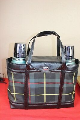 Vintage Aladdin Stanley Steel Double Thermos Lunch Box Picnic Set + Vinyl Case