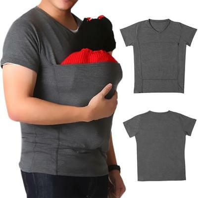 Men's Dad Baby Carrier T-Shirt Wrap Maternity Kangaroo Bag Care Bonding Shirt