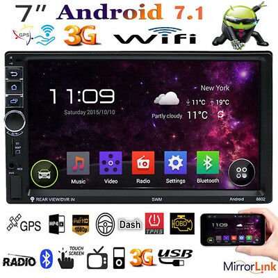 "Android 7.1 3G WIFI 7"" HD 2DIN Touch GPS Navigator Car Radio Stereo MP5 Player"