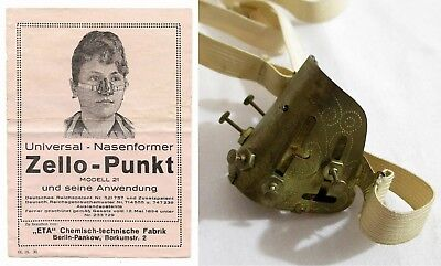 RARE Antique Victorian ZELLO-PUNKT Nasenformer QUACK MEDICAL NOSE SHAPER DEVICE
