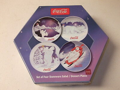 Sakura Coca Cola Set of Four Stoneware Salad/Dessert Plates-Bear Family