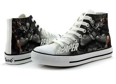 OW Overwatch Reaper Hand Painted Canvas Shoes High Help Colored Drawing Casual