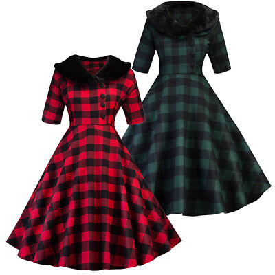Plus Size Vintage Plaid Checks 50s ROCKABILLY Swing Pinup Housewife Retro Dress