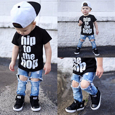 Newborn Toddler Kids Boy Clothes T Shirt Tee Top +Denim Hole Pant Outfit Set USA