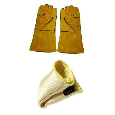 1 Pair Protective Welding Gloves Hand Cover Fire Resistant with TIG Finger