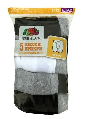 "Fruit of the Loom® BOYS' 5-PACK BOXER BRIEF "" Cotton & Tag Free "" 5CEL01B"
