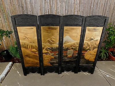 Antique Asian Japanese Carved Hardwood 4 Panel Folding Screen Hand Painted