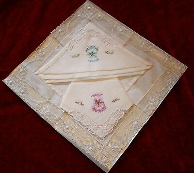 Vintage handkerchiefs hankies embroidered flowers net lace EXQUISITE