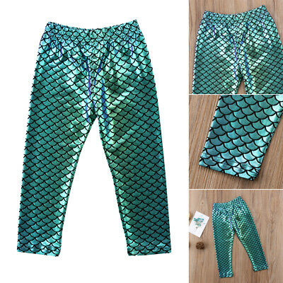 AU Stock Pretty 1Pc Kids Baby Girl Sequin Mermaid Pants Leggings Trouser Bottoms