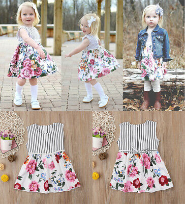 AU Stock Pretty Toddler Kids Baby Girls Princess Floral Party Dresses Sundress