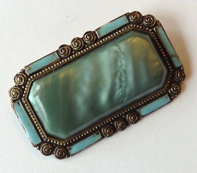 Vintage Art Deco Frosted Green Rhinestone & Turquoise Enameled Brooch