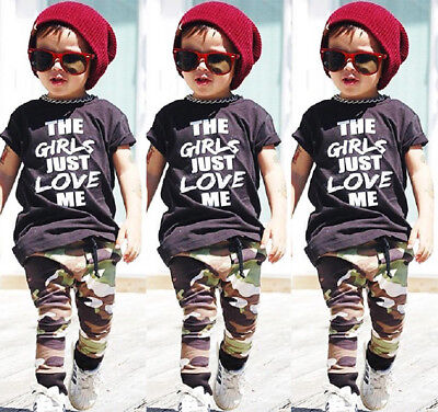 USA Casual Toddler Kids Boys Tops T-shirt Camo Pants 2Pcs Outfits Set Clothes