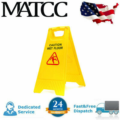 Caution Wet Floor - Folding Safety Sign Cleaning Slippery Warning Bright 2 Sided