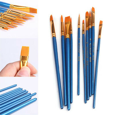 10Pcs Paint Brush Set, Watercolor Oil, Body, Face, Craft Art Painting Nylon Wool