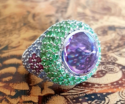 Retro Cocktail Ring, Multi-gemstone, Size 7 3/4, Sterling Silver