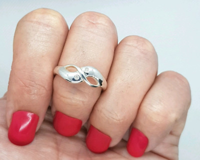 Diamond Infinity Ring, size 9 US, Sterling Silver, pure energy ♡