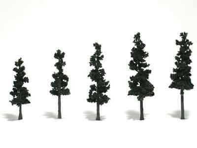 "Woodland Scenics N, HO, or O Pine Trees Conifer Green  2.5-4""  5 Pk # TR1560 F/S"