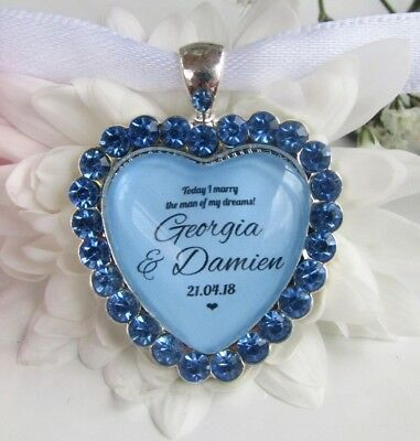 Bridal Bouquet Charm Something Blue Bride Diamantés Wedding Gift Accessories