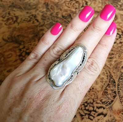 Massive Baroque Pearl Ring, adjustable size, Sterling Silver ♡