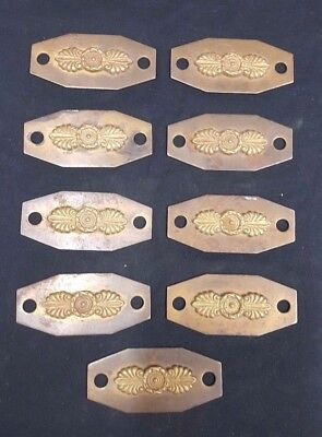 Architectural Salvage Hexagon Embossed Floral Drawer Pull Plates Set of 9