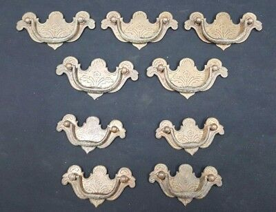 Architectural Salvage Brass Etched Floral Design Drawer Pull Handles Set of 9