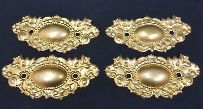 Architectural Salvage Ornate Bright Gold Brass Wide Drawer Pull Plates Set of 4